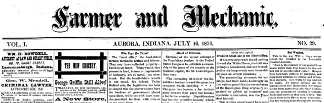 Aurora Farmer and Mechanic, July 16, 1874, Lavinia Goodell's admission to the bar