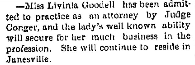 Janesville Gazette June 18, 1874, Lavinia Goodell's admission to practice
