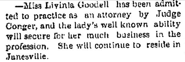 Janesville Gazette June 18, 1874, Lavinia Goodell's admission to practice