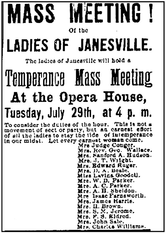 Ad in the Janesville Gazette which begins Mass Meeting! of the Ladies of Janesville.