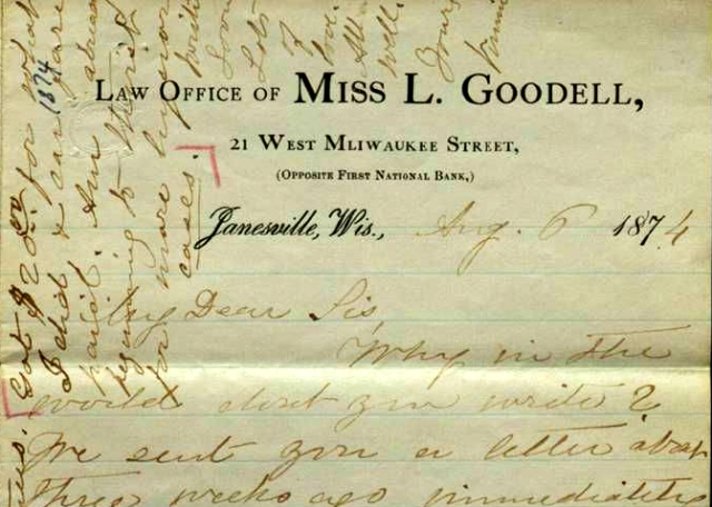 First letterhead of Lavinia goodell, Wisconsin's first woman lawyer