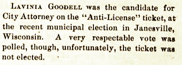 The Women's Journal ran this notice about Lavinia's run for Janesville City Attorney on April 17, 1875.