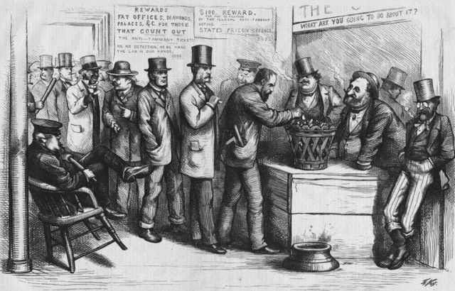 19th century cartoon of a polling place. Only men could vote.