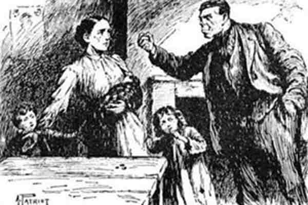 Illustration of husband threatening a wife