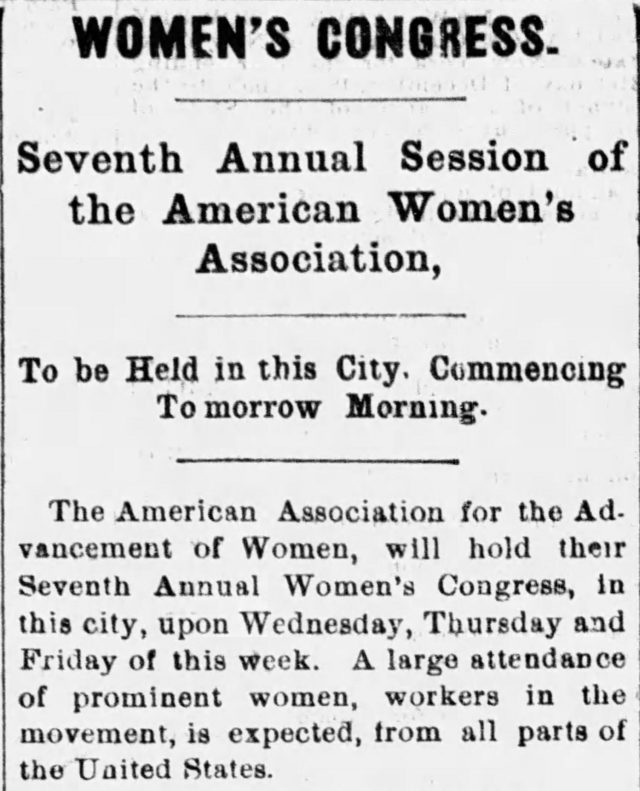 Image of announcement of 7th Annual Women's Congress in Madison, Wisconsin
