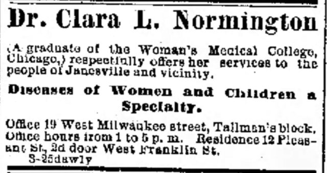 1878 advertisement for Dr. Clara Normington's practice